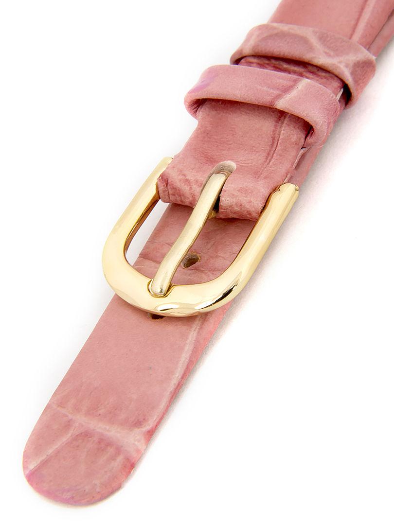 Dámský kožený růžový řemínek k hodinkám W-414-B