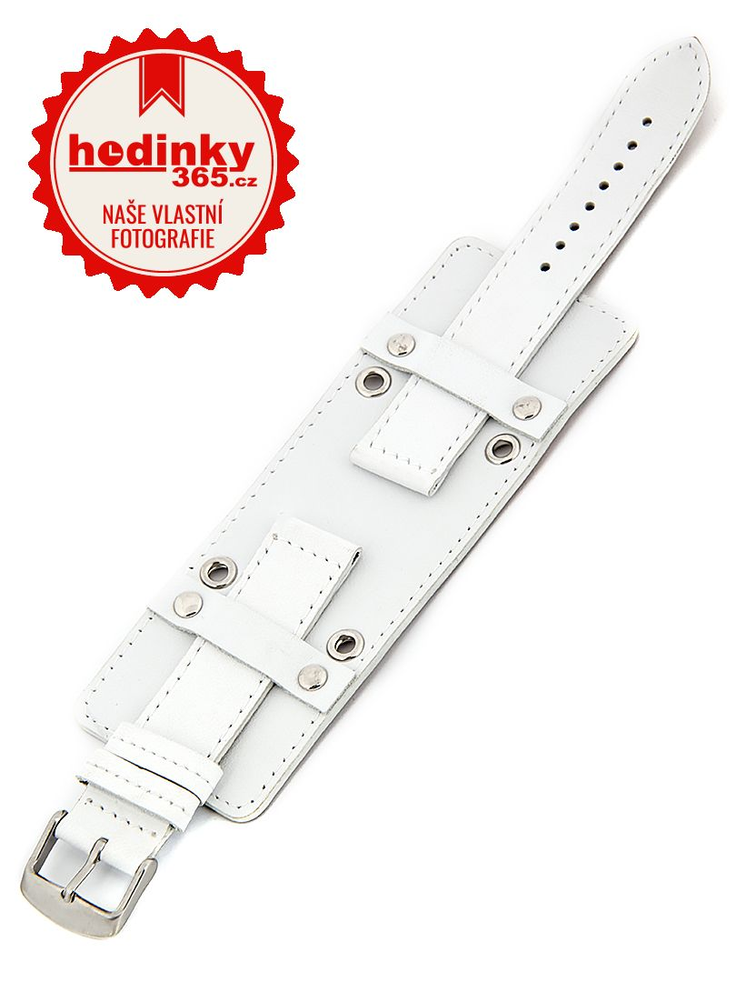 Unisex kožený bílý řemínek BH-5-B