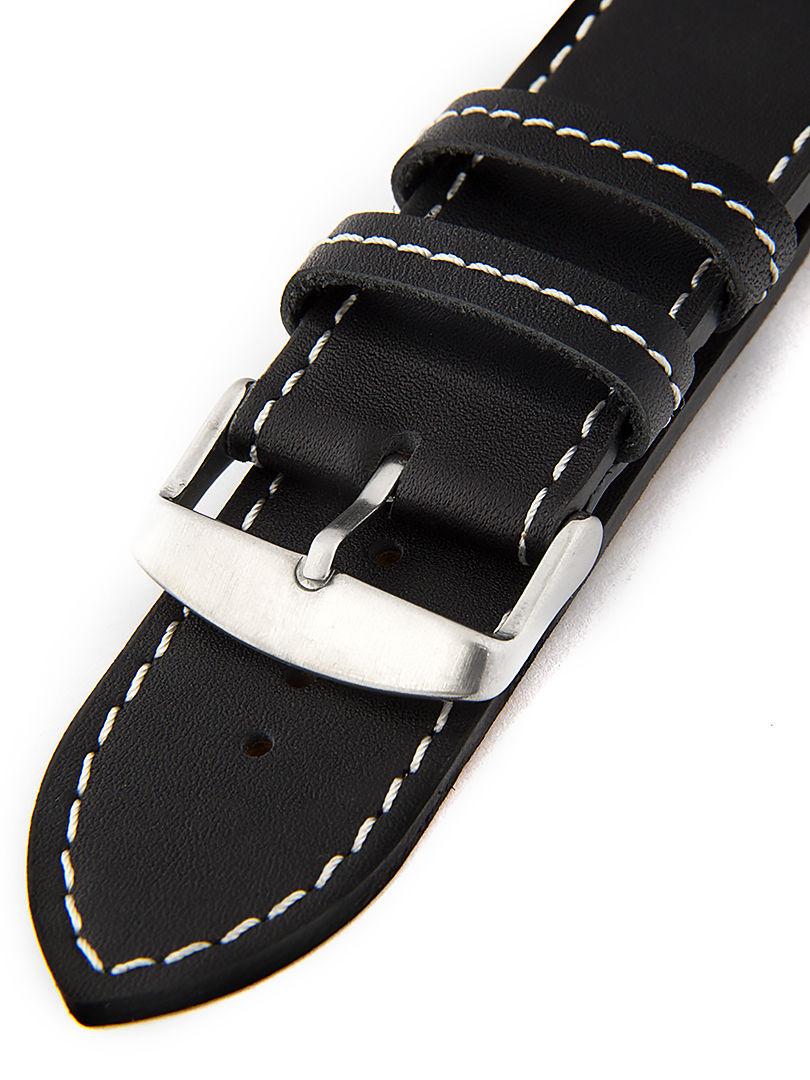 Unisex kožený černý řemínek k hodinkám H-5-B