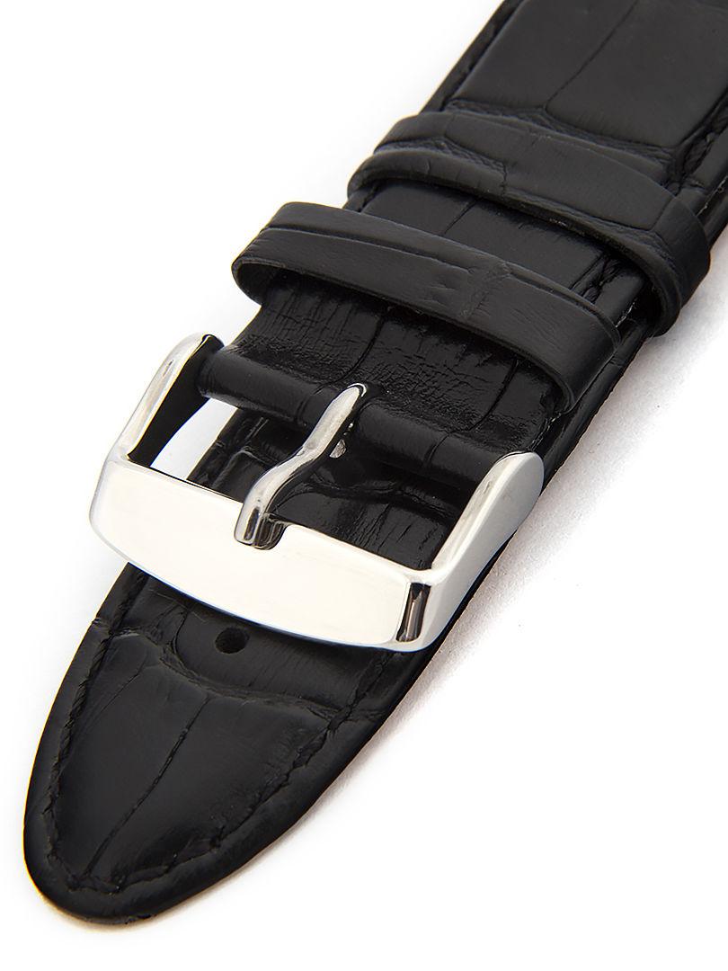 Unisex kožený černý řemínek k hodinkám HYP-01-NERO