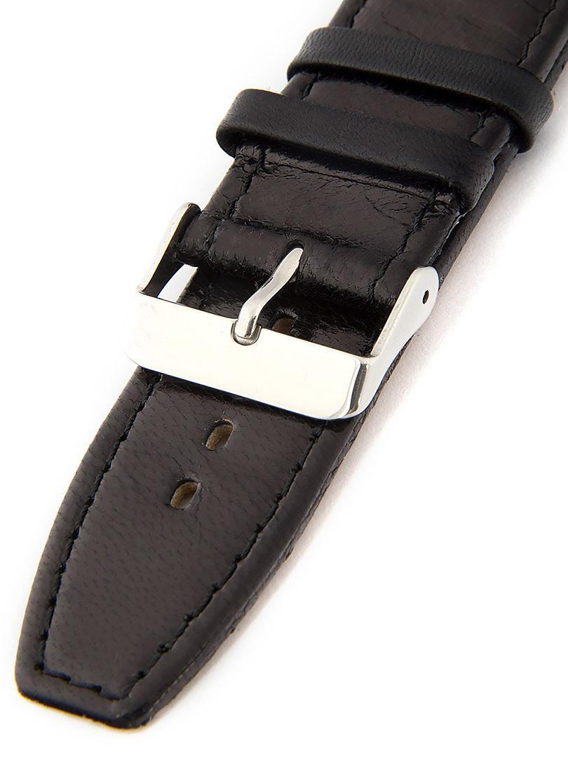 Unisex kožený černý řemínek k hodinkám W-309-L1