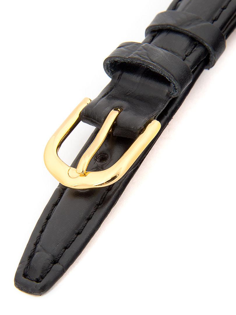 Unisex kožený černý řemínek k hodinkám k hodinkám A-5-A 18 mm