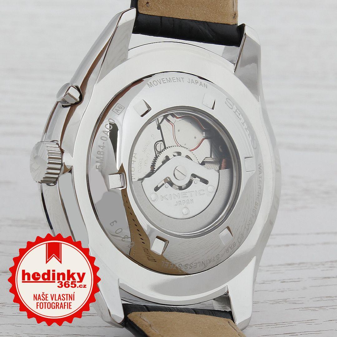 42867d213 Seiko Kinetic SRN049P1. Pánské hodinky - kožený řemínek, ocel pouzdro,  minerální sklíčko. Veškeré technické parametry naleznete níže