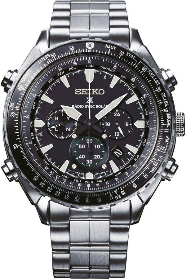 beb195fa551 Seiko Prospex Sky Radio Sync Chronograph SSG001P1. Pánské hodinky - ocelový  řemínek