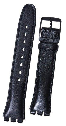 Unisex černý kožený řemínek k hodinkám Swatch AGB750