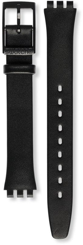 Unisex černý kožený řemínek k hodinkám Swatch ALB172