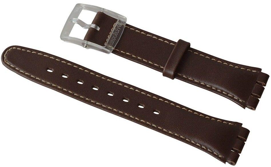 Unisex modrý kožený řemínek k hodinkám Swatch AGE704