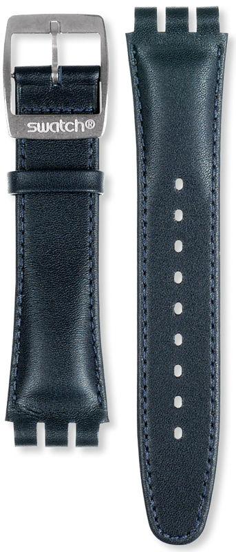 Unisex modrý kožený řemínek k hodinkám Swatch AYCS004