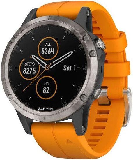 Garmin Fenix 5 Plus Sapphire Titanium, Solar Flare Orange